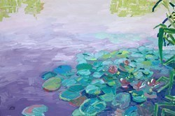 A Day of Pink Water Lilies by Leila Barton -  sized 30x20 inches. Available from Whitewall Galleries